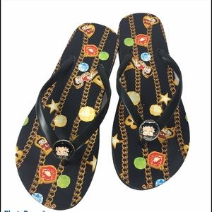 Betty Boop Flip Flops Nearly New Black Size 8